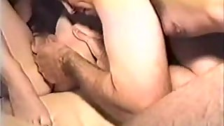 Super-steamy young swinger wife getting well-used by a group of folks