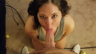 Beautiful amateur cocksucker takes a messy facial like a pro