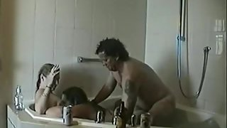 Warm youthfull wives love 3 way sex with an older man in the tub
