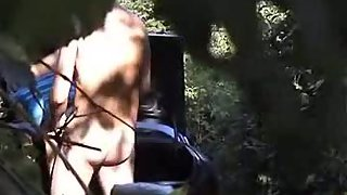 Parked car in the woods at lovers layby voyeurism tom in bushes filming