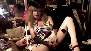Squirting fun on zebra heels