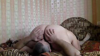 Mature couple plus-size oral sex and riding