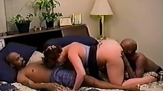Interracial 3 way cuck wife collective with two dark-hued studs