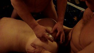 Mature wife swingers both men trying to oil up and use her ass