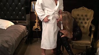 Nasty amateur blonde in ebony leather dress stripping off for filthy fucky-fucky