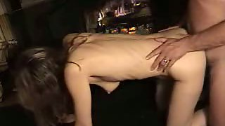 Wife boinked on all fours in the living room and creampied