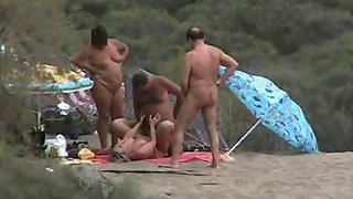 Wife ravaging at a nudist beach in the sand dunes people watching