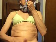 Exposed gay crank bitch wears green padded bra and striped thong on head