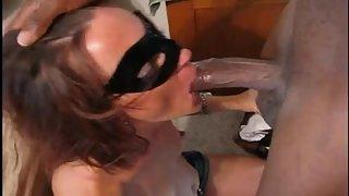 Jaw-dropping masked wife worshipping & fucking a huge black hard-on