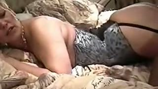 Beautiful mature mom wife in sexy underwear and her black stallions
