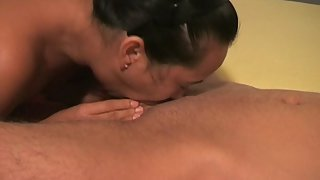Horny asian mom deepthroating white cock and drinking jizz