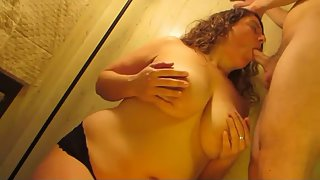 All congenital giant boob milf palm knocker and suck job with cum load